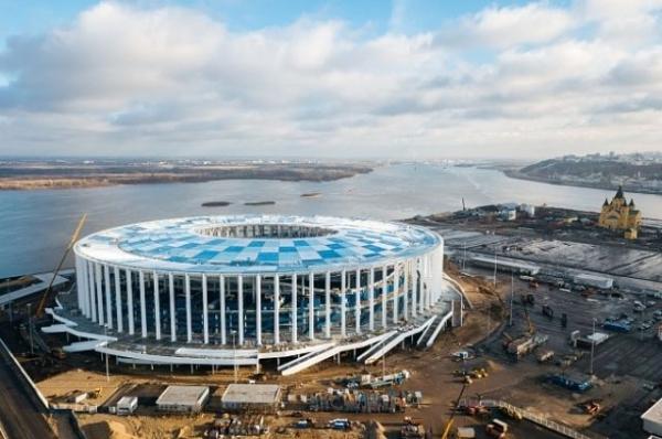 Завершен монтаж крыши строящегося к ЧМ-2018 стадиона в Нижнем Новгороде