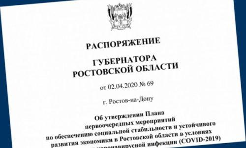 В Ростовской области принят первый пакет мер по поддержке экономики в условиях эпидемии коронавируса