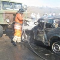 Водитель автомобиля погиб в загоревшейся после ДТП машине